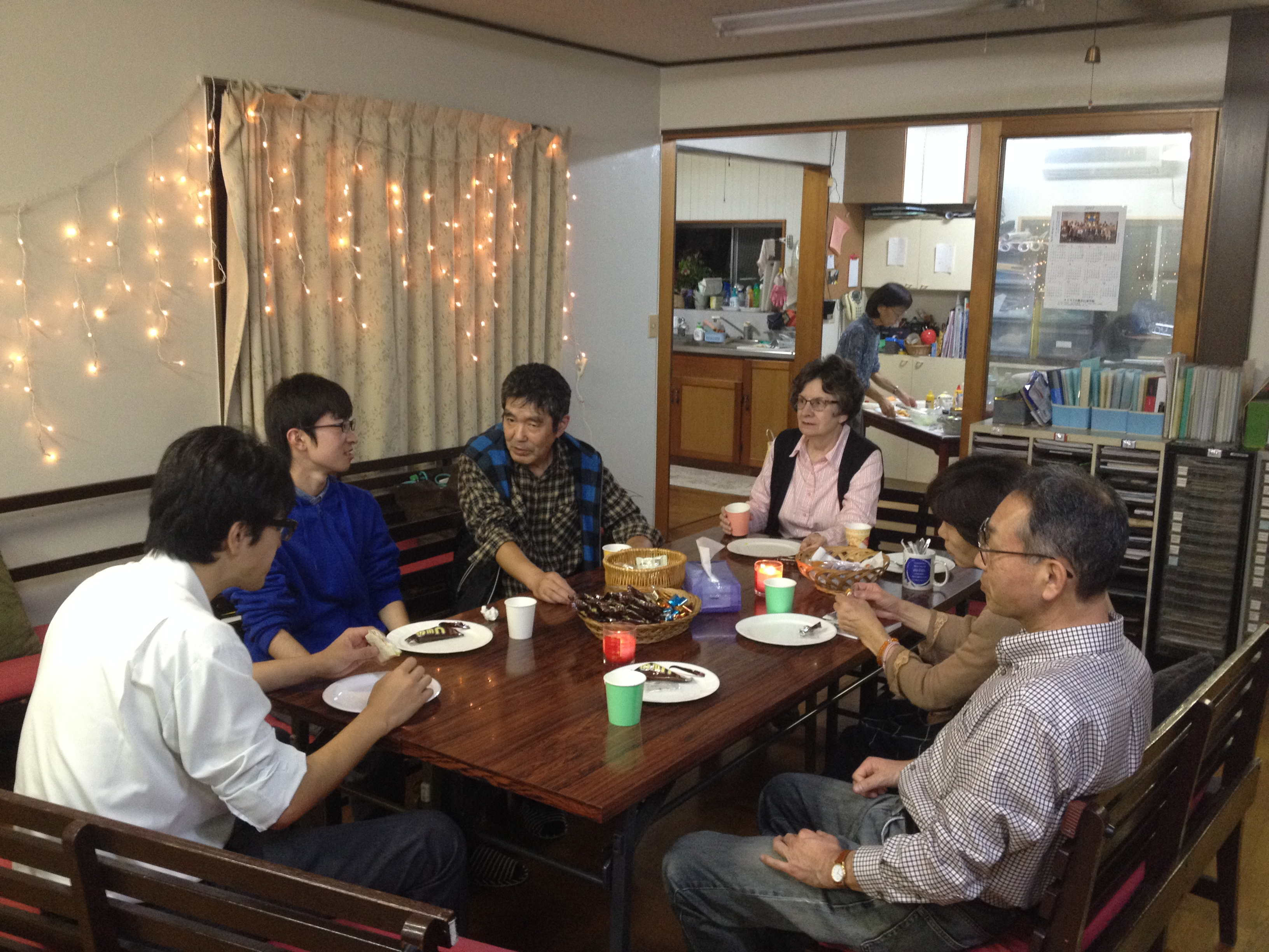 Tomobe congregation's Coffee Hour fellowship.