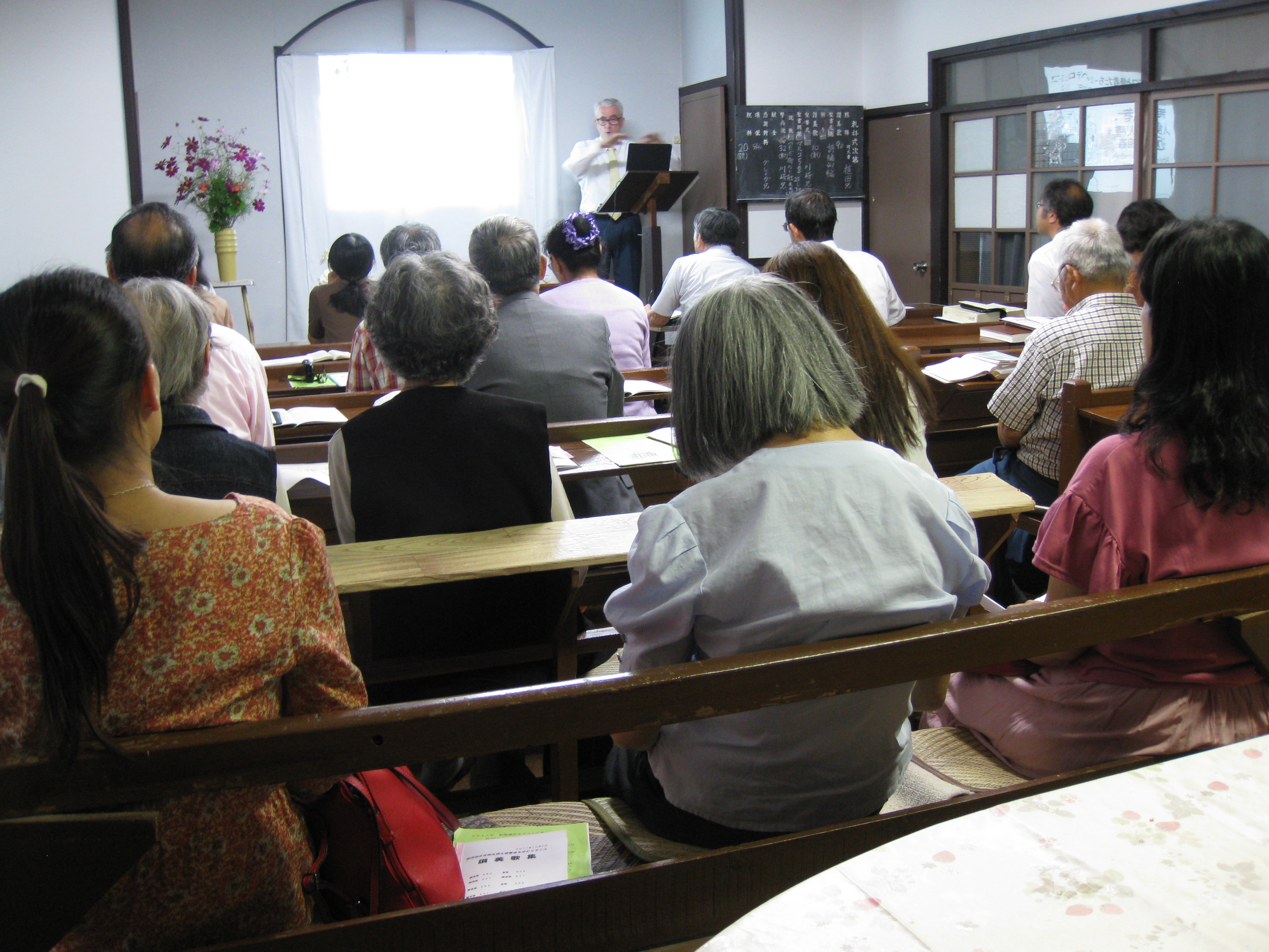 Speaking at Shizuoka joint assembly; eight congregations represented