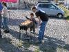 Roasting onigiri with the help of a friend