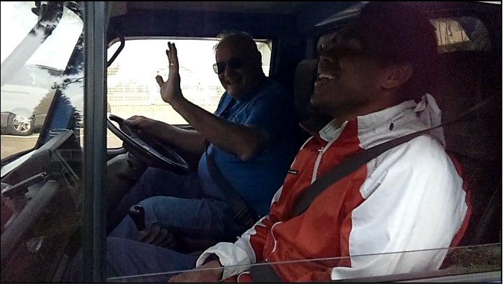 Marlin Ray driving truck to join the group in Ishinomaki