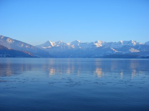 A view from the city of Thun towards the Alps. You can see the famous mountains Eiger, Mönch (monk), and Jungfrau (virgin).