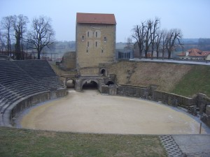 A Roman theatre from the first century where gladiators fought against other gladiators and against wild animals. The theatre is located in Avenches which is about 45 minutes from Thun. The city was probably built by Germanic tribes after they had lost a battle against Julius Caesars' army South of Geneva. Julius Caesar was assassinated in 44 B. C.
