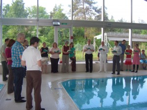 Gathering at swimming pool for Maria's baptism - May 24, 2009.