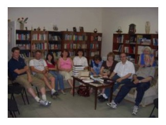 Wednesday night Bible class in the library room.