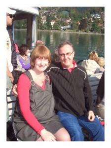 Enjoying a trip on Lake Thun.