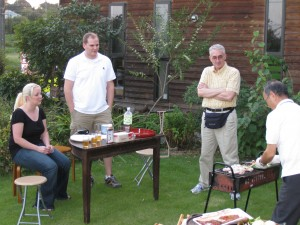 Fellowship with new Haruna missionaries, Paul and Stacey, hosted by brother Obata, grilling, Sept 24 '09.