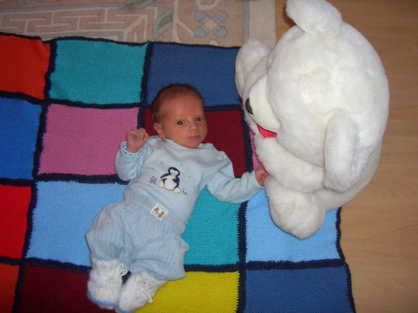 Two week old Ilja in our living room