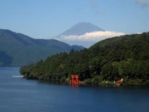 Mt. Fuji as seen from Hakone across Lake Ashi