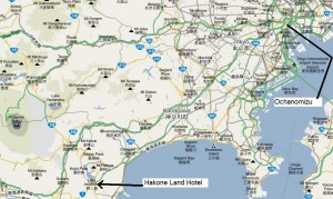 Location of Hakone Land Hotel