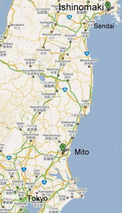 Ishinomaki, Sendai, Mito, Tokyo Map