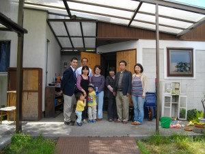 Those attending worship in Sendai, May 15, in front of church building.