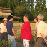 On a walk with Joel, Gaku, and Hiro / Visiting with a local farmer